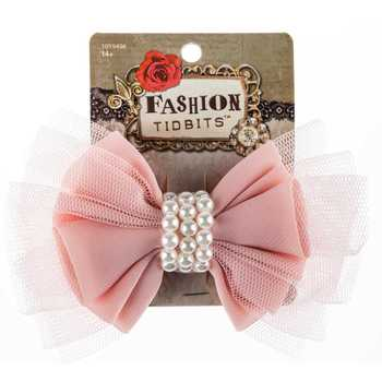 Pink Tulle Bow Clip with Pearl Center